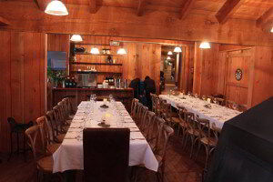 Dining room set up for a corporate function at Bruny Island Lodge