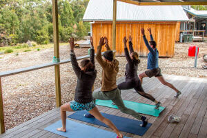 Yoga session at Bruny Island Lodge