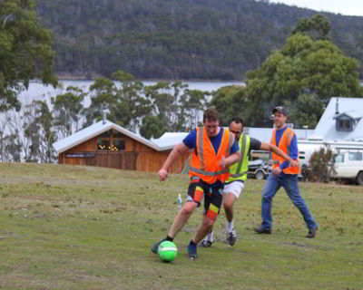 Bruny Island Lodge corporate retreat soccer match