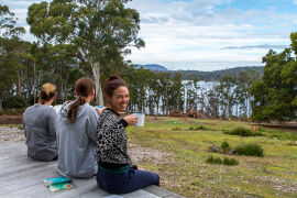 relaxing at Bruny Island Lodge